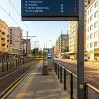 Warsaw tram stops - Passenger Information DIsplays manufactured by Dysten