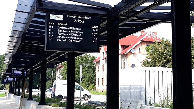 Dysten platform LED passenger information displays in Pszczyna transport hub