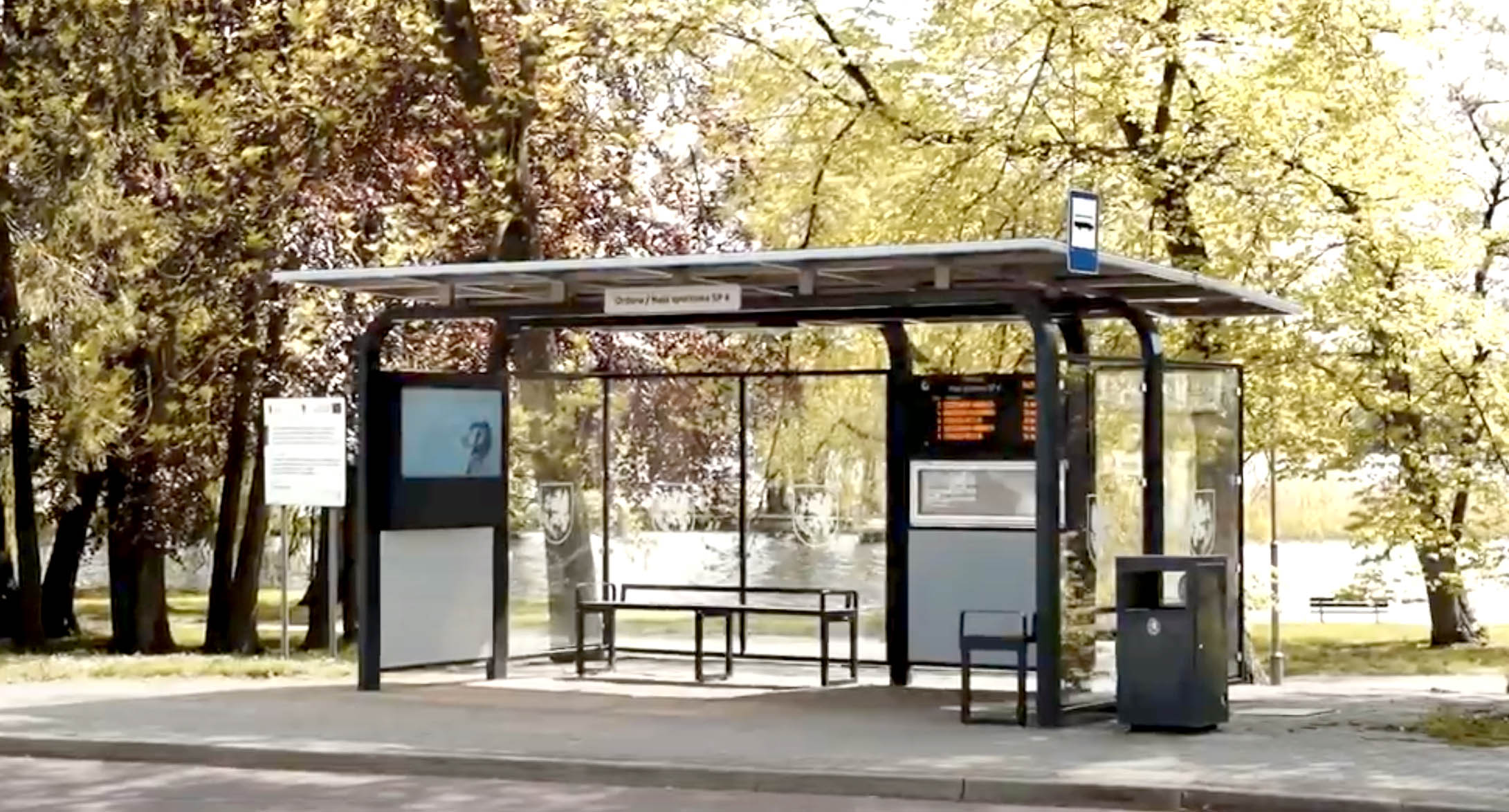 Dysten Passenger Information Displays integrated with bus shelters