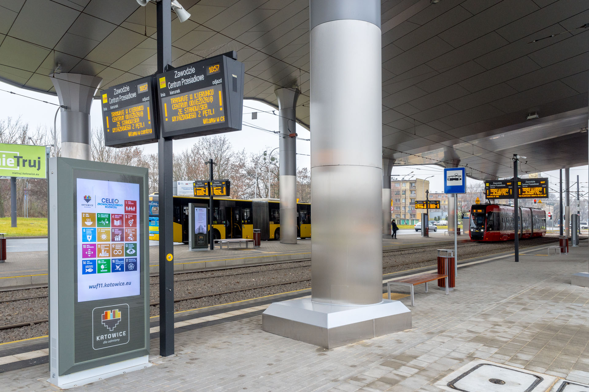 SDIP, Dynamic Passenger Information Display System and info kiosk, LED passenger information boards. This project was cofinanced by EU.