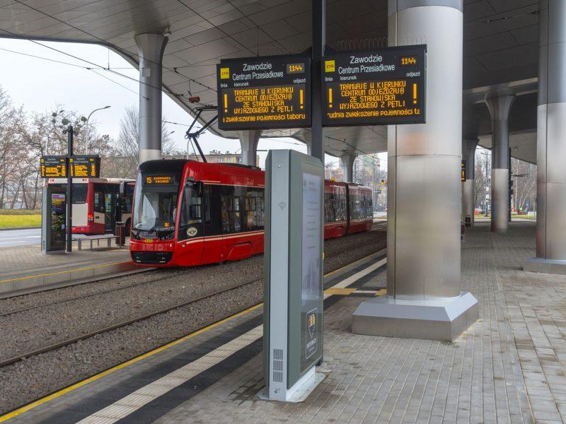 Info kiosk Dysten. Infokiosks and information totems implemented - the Zawodzie interchange hub. SDIP