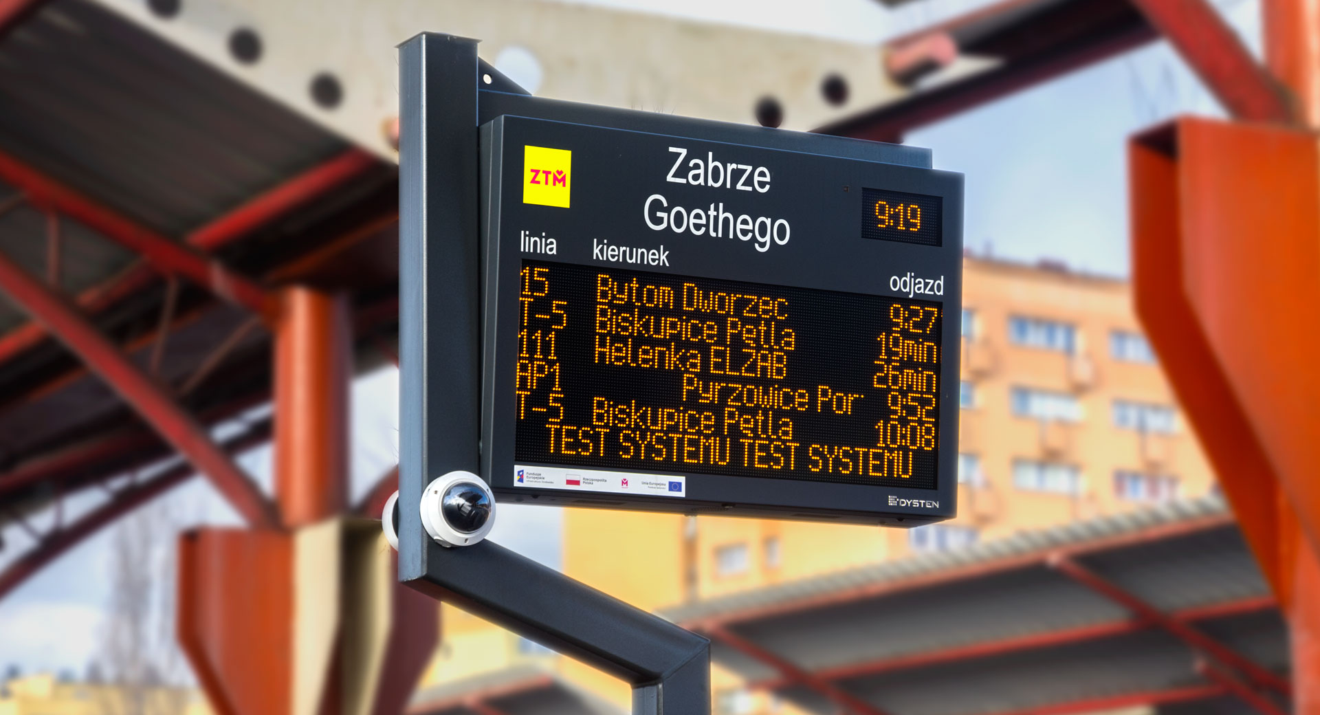 SDIP DPIDS Dynamic Passenger Information Display System. LED amber passenger information board. High-resolution surveillance camera. Text-to-speech system. The extension of passenger information system for 460 bus and tram stops KZKGOP ZTM GZM Metropolis, Poland