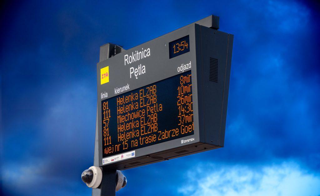 SDIP DPIDS Dynamic Passenger Information Display System. LED amber passenger information board. The extension of passenger information system for 460 bus and tram stops KZKGOP ZTM GZM Metropolis