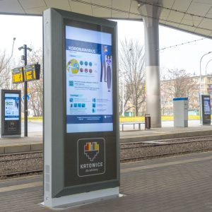 Info kiosk Dysten. Infokiosks and information totems implemented at the  Zawodzie interchange hub. Project  in Katowice was cofinanced by the European Union.