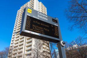 LED passenger information displays-boards. Wyświetlacze informacji pasażerskiej w technologii LED amber. SDIP GZM Metropolis, Poland. GZM Metropolia