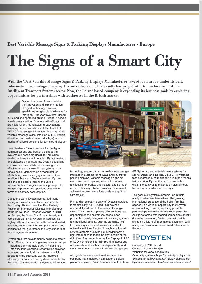 The Signs of a Smart City - Best European Variable Message Signs and Parking Displays Manufacturer