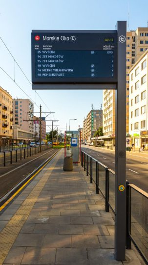 Warsaw tram stops - Passenger Information DIsplays manufactured by Dysten